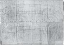 Konstruktionsplan der Denzel-Karosserie, gezeichnet 1948 in Bregenz von Clemens Groß.