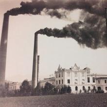Kraftwerk von Jenny & Schindler in Bregenz-Weidach, um 1910. Bei Wassermangel musste der Dampfbetrieb den Strom ersetzen.