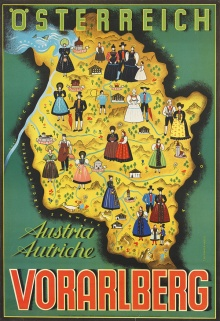 Plakat des Landesverbandes für Fremdenverkehr, 1952, Entwurf: Lisl Thurnher-Weiß (1915–2003)