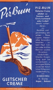 Ältestes bekanntes Piz-Buin-Sonnenschutz-Emblem, dargestellt auf einer Faltschachtel für Tuben um 1950.