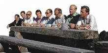 Vor 36 Jahren auf der Alpe Parpfienz (v.li.): die Landesräte Elmar Rümmele und Fredy Mayer, Landesstatthalter Siegfried Gasser, Landeshauptmann Herbert Kessler sowie die Landesräte Konrad Blank und Karl Werner Rüsch.