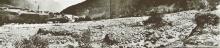 Vermurungen des Suggadinbachs, im Hintergrund St. Gallenkirch am 17. Juni 1910. Archiv der Wildbach- und Lawinenverbauung, Sektion Vorarlberg, Gebietsbauleitung Bludenz