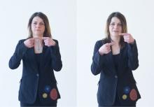Den Faden verlieren: Die Zeigefinger stellen den Faden dar und treffen direkt aufeinander. Wenn eine Hand nach unten geht, wir ausgedrückt, dass man in einem Gespräch, einem Vortrag o.Ä. den Faden verloren hat. Fasst man sich wieder, geht die Hand nach oben und die Zeigefinger stoßen wie in der ersten Position aneinander.