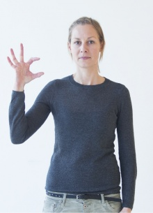"""WC: Mit dem kleinen Finger, Ring- und Mittelfinger wird ein """"W"""" dargestellt, mit Zeigefinger und Daumen ein """"C"""". Früher und vereinzelt auch heute wird unter gehörlosen Menschen aus Diskretionsgründen auch die Gebärde fürs Telefonieren verwendet."""
