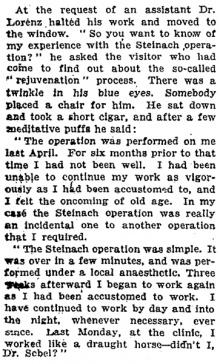 """Auszug aus der """"New York Times"""" vom 26.Februar 1922, Adolf Lorenz, bekannter Orthopäde aus Wien, und Vater des Nobelpreisträgers Konrad Lorenz berichtet der Zeitung über die positiven Auswirkungen der Operation, die er bei Dr.Steinach durchführen ließ."""