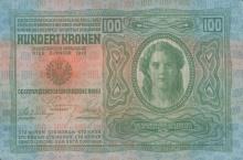 100 Kronen, 1912. Die Krone war die Geldwährung Österreich-Ungarns bis 1918 und die Währung der Republik Österreich von 1918 bis 1925.  © Geldmuseum der oesterreichsichen Nationlbank